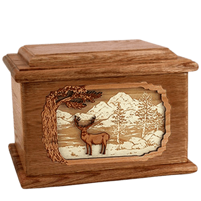 Deer Land Walnut Memory Chest Cremation Urn