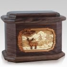 Deer Land Walnut Octagon Cremation Urn