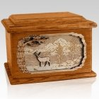 Deer Mahogany Memory Chest Cremation Urn