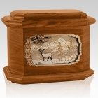 Deer Mahogany Octagon Cremation Urn