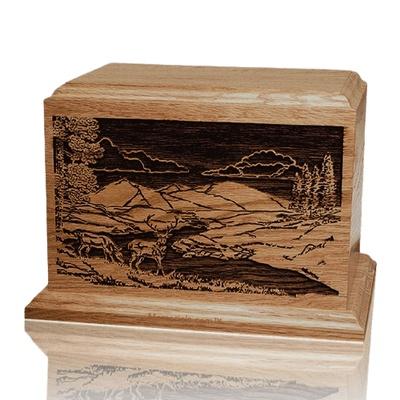 Deer Scene Walnut Wood Cremation Urn