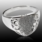 Defender 14k White Gold Cremation Print Ring