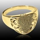 Defender 14k Gold Cremation Print Ring