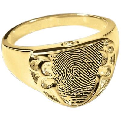 Defender 14k Gold Cremation Print Ring