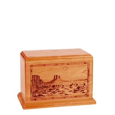 Desert Sunset Small Mahogany Wood Urn