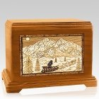Dogsled Mahogany Cremation Urn For Two