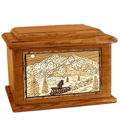 Dogsled Mahogany Memory Chest Cremation Urn