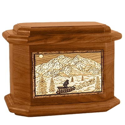 Dogsled Mahogany Octagon Cremation Urn