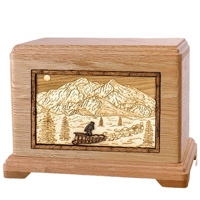 Dogsled Oak Hampton Cremation Urn