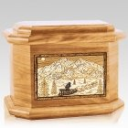 Dogsled Oak Octagon Cremation Urn