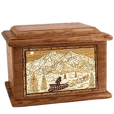 Dogsled Walnut Memory Chest Cremation Urn