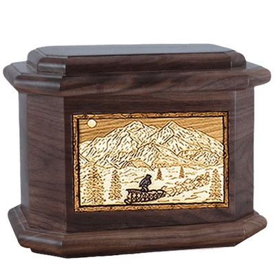 Dogsled Walnut Octagon Cremation Urn