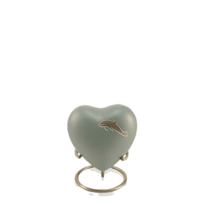 Dolphin Blue Heart Cremation Urn