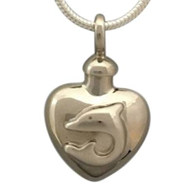 Dolphin Heart Cremation Jewelry