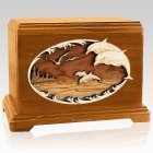 Dolphin Mahogany Cremation Urn For Two