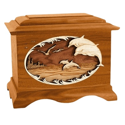 Dolphins Mahogany Cremation Urn
