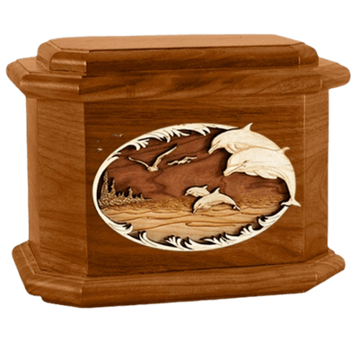 Dolphins Mahogany Octagon Cremation Urn
