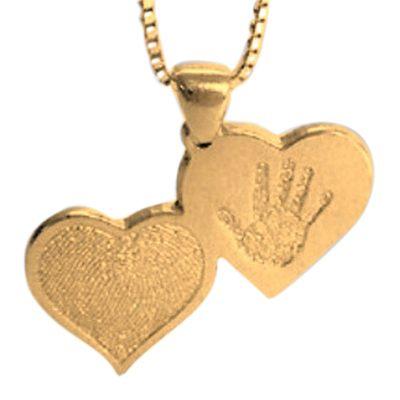 Double Heart Hand Print Gold Keepsake
