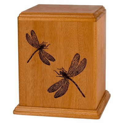 Dragonflies Wood Cremation Urn