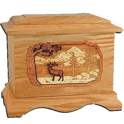 Elk Oak Cremation Urn For Two
