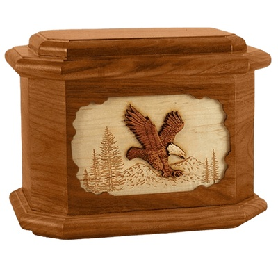 Eagle Mahogany Octagon Cremation Urn