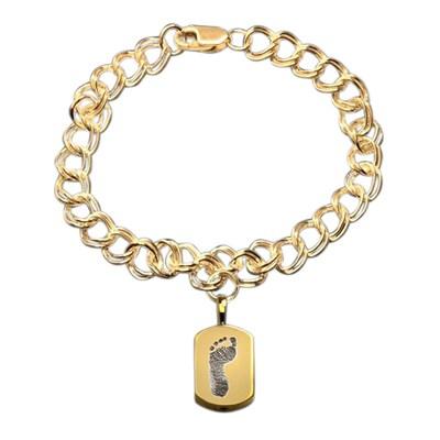 Elegant 14k Yellow Gold Cremation Print Bracelet