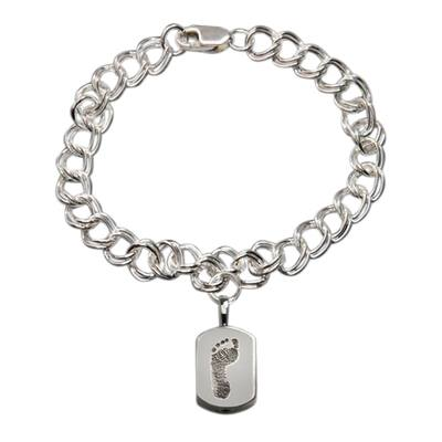 Elegant 14k White Gold Cremation Print Bracelet