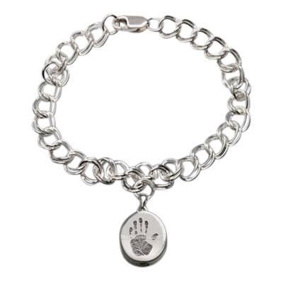 Elite 14k White Gold Cremation Print Bracelet