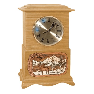 Elk Clock Oak Cremation Urn