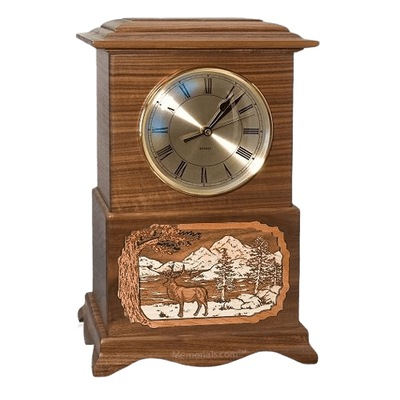 Elk Clock Walnut Cremation Urn
