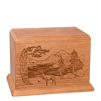 Elk Individual Cherry Wood Urn