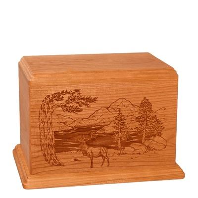 Elk Individual Mahogany Wood Urn