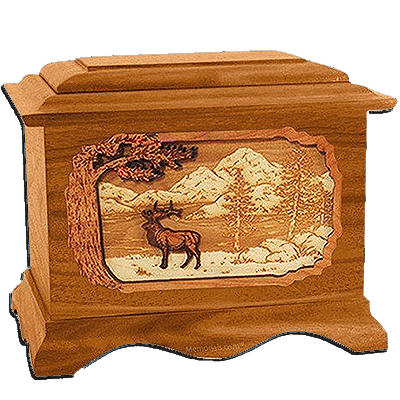 Elk Mahogany Cremation Urn for Two