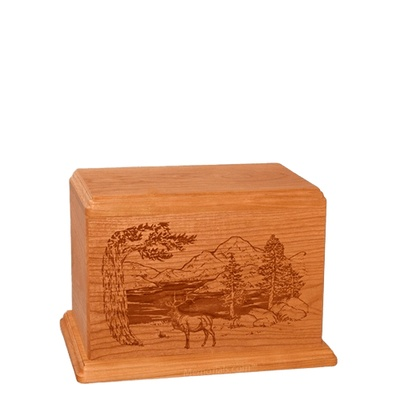 Elk Small Mahogany Wood Urn