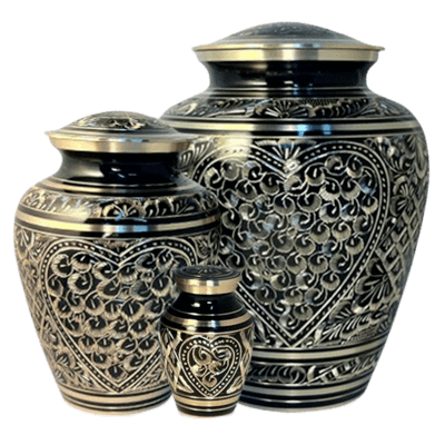 Etched Heart Cremation Urns