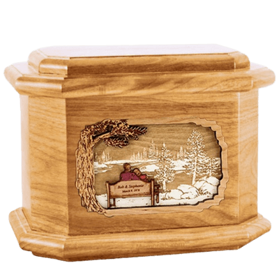 Eternally Oak Octagon Cremation Urn