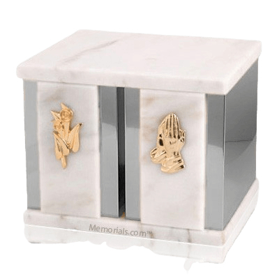 Etinity Silver White Marble Companion Urn