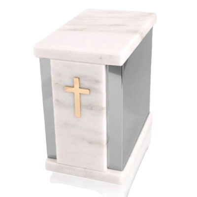Etinity Silver White Marble Urn