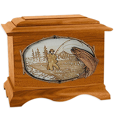 Fisherman Mahogany Cremation Urn for Two
