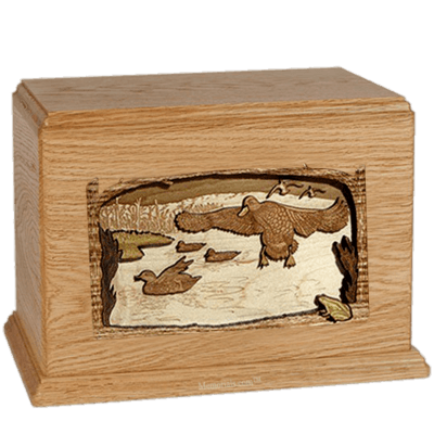 Flying Ducks Oak Companion Urn