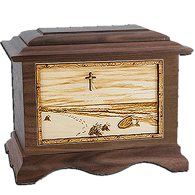 Footprints Walnut Cremation Urn For Two