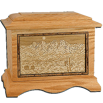 Four Peaks Oak Cremation Urn For Two