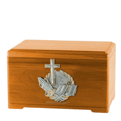 Faith Prayer Oak Cremation Urn