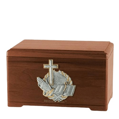 Faith Prayer Walnut Cremation Urn