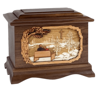 Faithful Walnut Octagon Cremation Urn