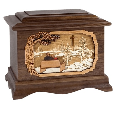 Faithful Walnut Memory Chest Cremation Urn
