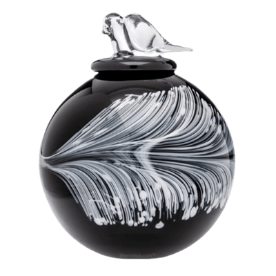 Feather Glass Cremation Urn