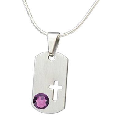 February Cross Cremation Pendant
