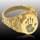 Filigree 14k Gold Cremation Print Ring