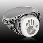 Filigree Sterling Cremation Print Ring